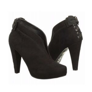 G By Guess Corset Bow Vegan Suede High Heel Bootie